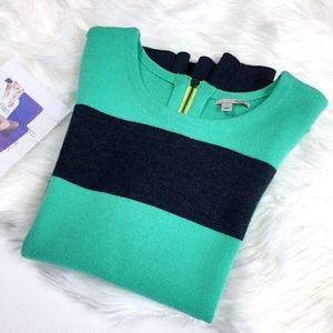 Halogen Mint Charcoal Stripe Merino Wool Sweater